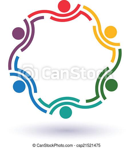 サミット, チームワーク, 6, ロゴ, 円 - csp21521475