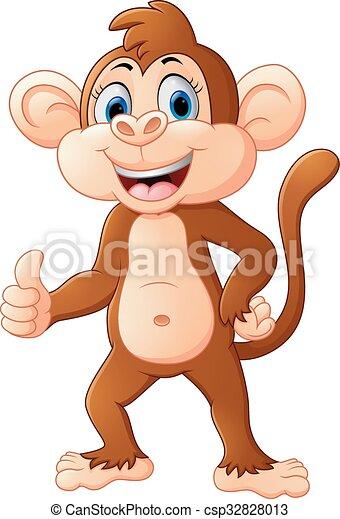 サル, かわいい, 漫画, 「オーケー」 - csp32828013
