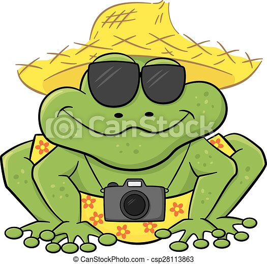サングラス, 観光客, わら, カエル, カメラ, 帽子 - csp28113863