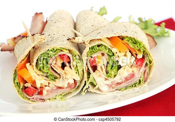 サンドウィッチを包みなさい, ハム - csp4505792