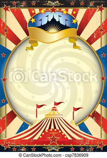 サーカスの大テント, サーカス, ポスター - csp7836909