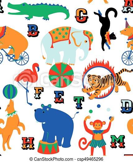 サーカス 動物 漫画 パターン サーカス Seamless 子供 Animals