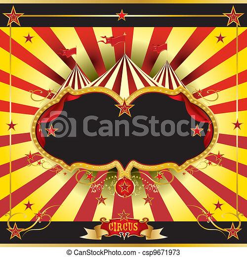 サーカス, 赤, リーフレット, 黄色 - csp9671973
