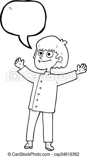 シェフ, スピーチ泡, 漫画 - csp34616362