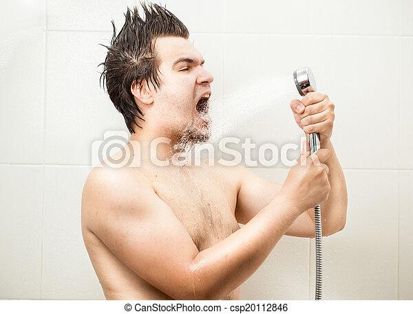 シャワー, 面白い, 歌うこと, 人 - csp20112846