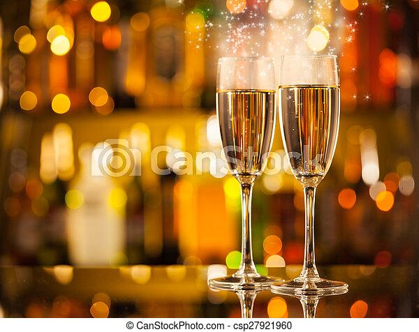 シャンペン ガラス, 背景, ぼやけ - csp27921960