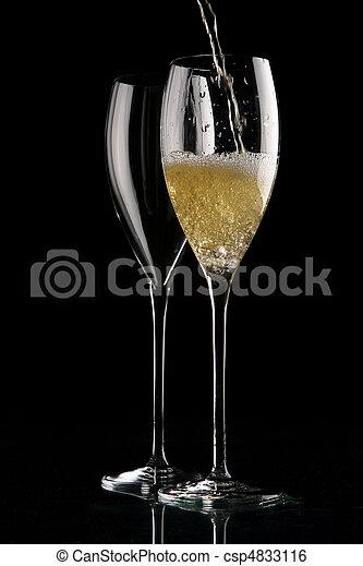 シャンペン, 黒, 2, ガラス - csp4833116