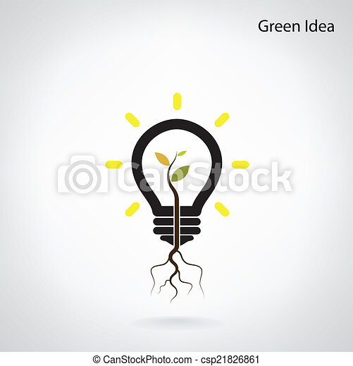 シュート, ライト, 木, 考え, 緑, 電球, 成長しなさい - csp21826861