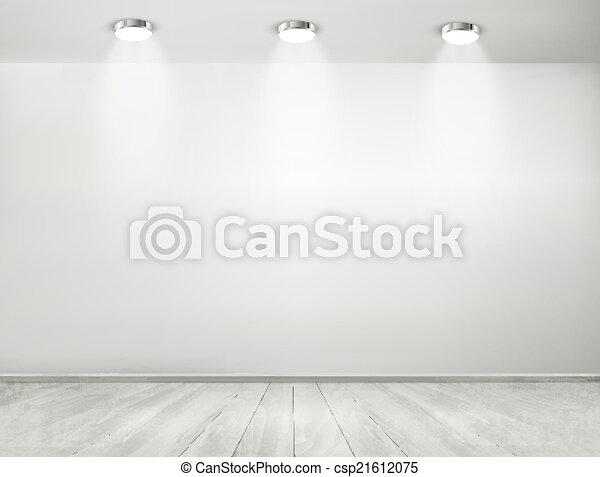 ショールーム, floor., concept., 木製である, スポットライト, vector., 灰色, 部屋 - csp21612075