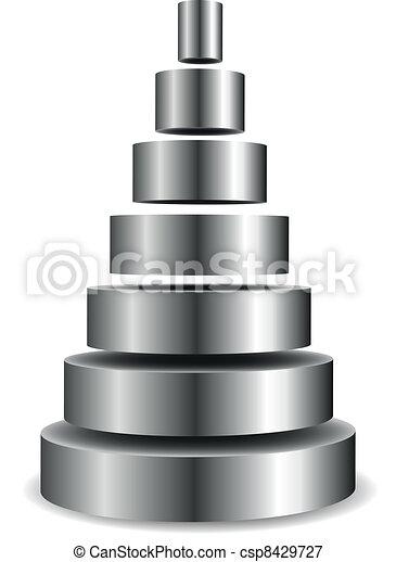シリンダー, ピラミッド, 金属 - csp8429727