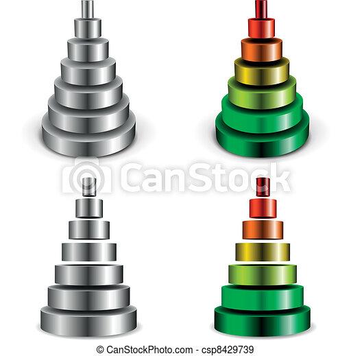 シリンダー, ピラミッド, 金属 - csp8429739