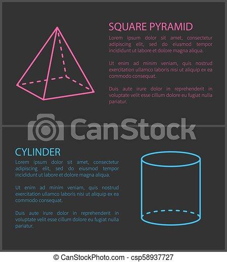 シリンダー, 広場, セット, ピラミッド, イラスト, ベクトル - csp58937727
