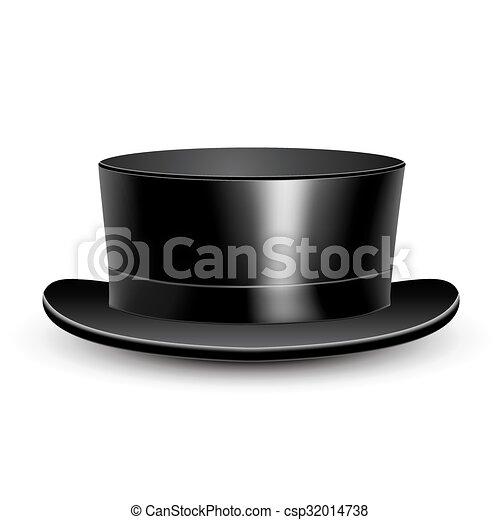 シリンダー, 黒, イラスト, hat. - csp32014738