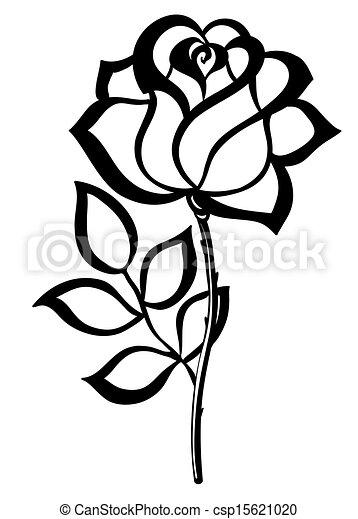 シルエット, アウトライン, 隔離された, バラ, 黒, white. - csp15621020