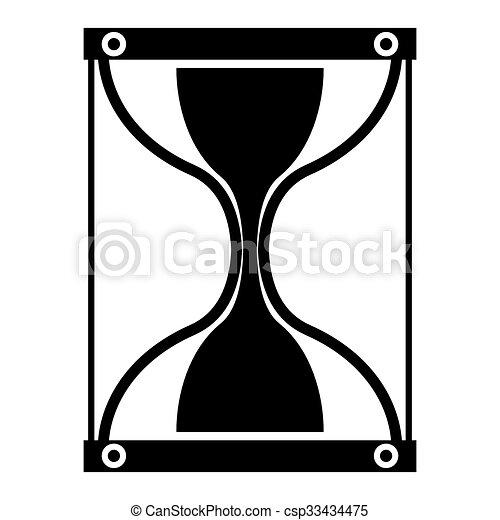 シルエット, シンボル, お金。, バックグラウンド。, time., 時間, 白, 砂時計 - csp33434475