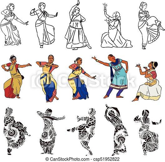 シルエット, ダンサー, indian - csp51952822