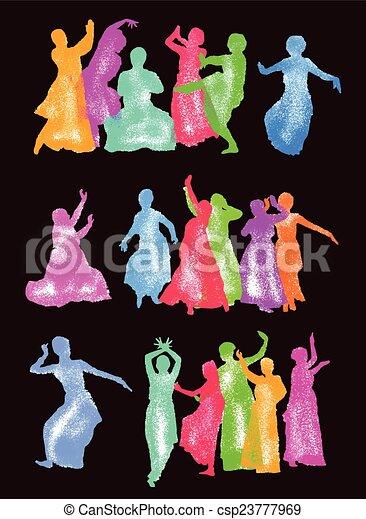 シルエット, ダンサー, indian - csp23777969