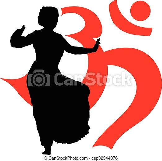 シルエット, ダンサー, indian - csp32344376