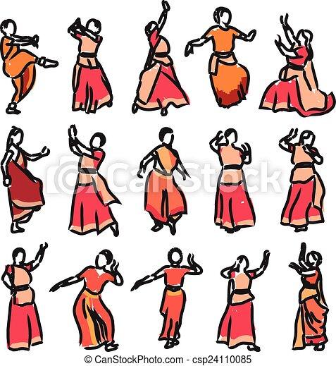 シルエット, ダンサー, indian - csp24110085