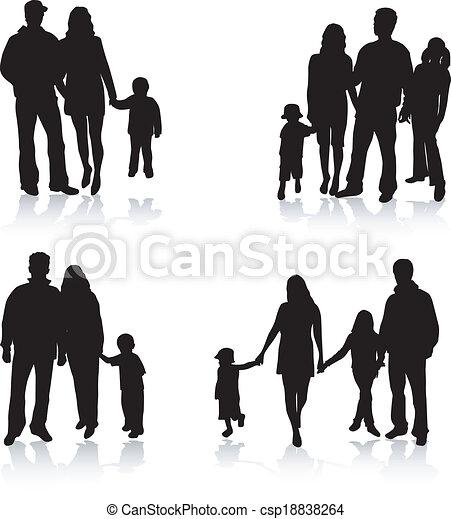 シルエット, ベクトル, 親, 子供 - csp18838264