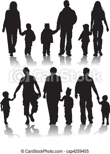 シルエット, ベクトル, 親, 子供 - csp4259455