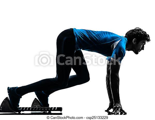 シルエット, ランナー, スプリンター, 始める, 人, ブロック - csp25133229