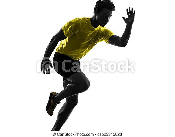シルエット, ランナー, スプリンター, 男ラニング, 若い - csp23315028