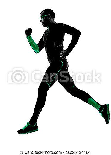 シルエット, ランナー, 動くこと, ジョガー, ジョッギング, 人 - csp25134464
