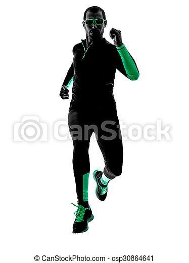 シルエット, ランナー, 動くこと, ジョガー, ジョッギング, 人 - csp30864641