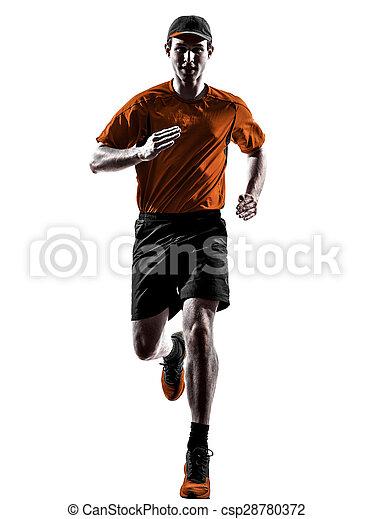 シルエット, ランナー, 動くこと, ジョガー, ジョッギング, 人 - csp28780372