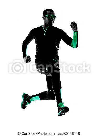 シルエット, ランナー, 動くこと, ジョガー, ジョッギング, 人 - csp30418118