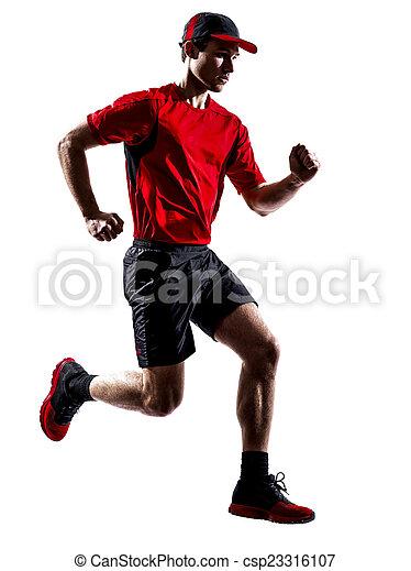 シルエット, ランナー, 動くこと, ジョガー, ジョッギング, 跳躍 - csp23316107