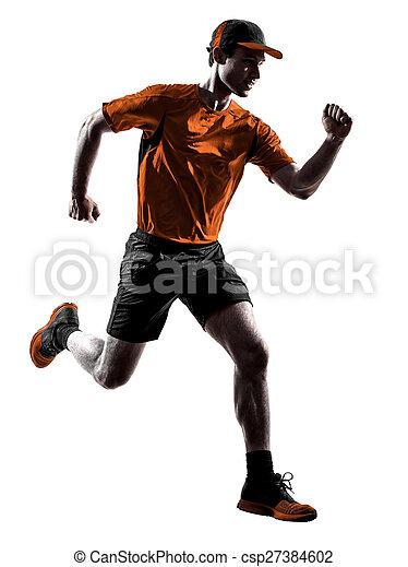 シルエット, ランナー, 動くこと, ジョガー, ジョッギング, 跳躍, 人 - csp27384602