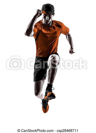 シルエット, ランナー, 動くこと, ジョガー, ジョッギング, 跳躍, 人 - csp28468711