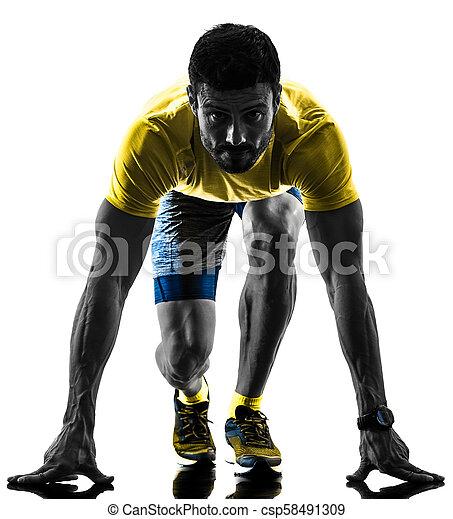 シルエット, ランナー, 背中, 隔離された, 動くこと, ジョガー, ジョッギング, 白, 人 - csp58491309