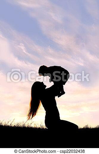 シルエット, 外, 母, 赤ん坊, 遊び, 幸せ - csp22032438