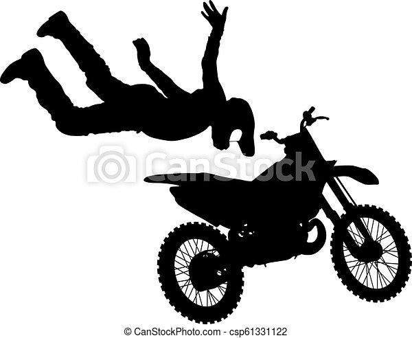 シルエット, 実行, トリック, オートバイ, 背景, 白, ライダー - csp61331122