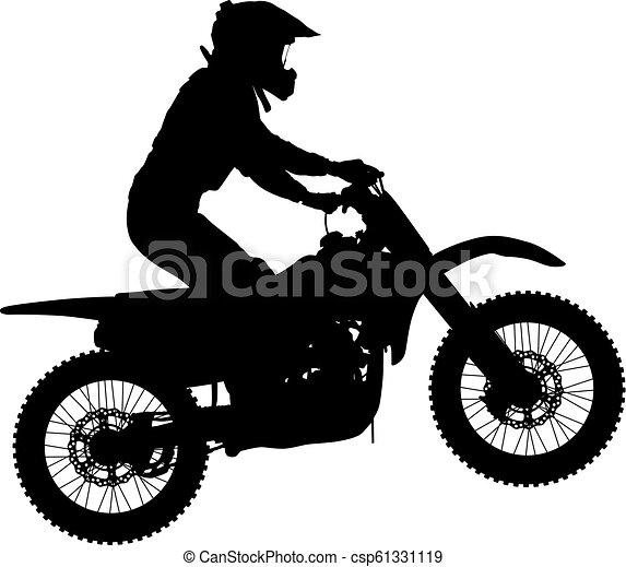 シルエット, 実行, トリック, オートバイ, 背景, 白, ライダー - csp61331119