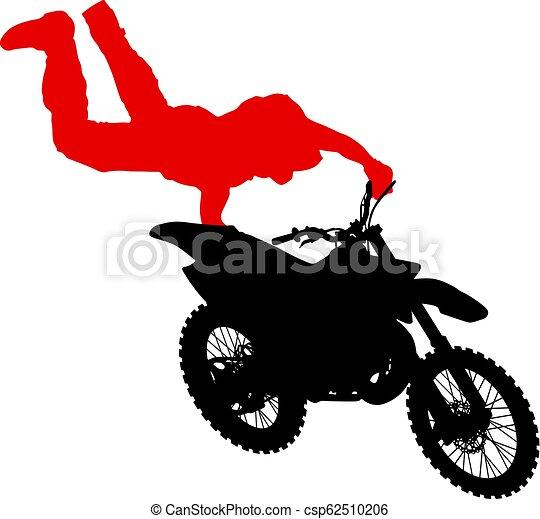 シルエット, 実行, トリック, オートバイ, 背景, 白, ライダー - csp62510206