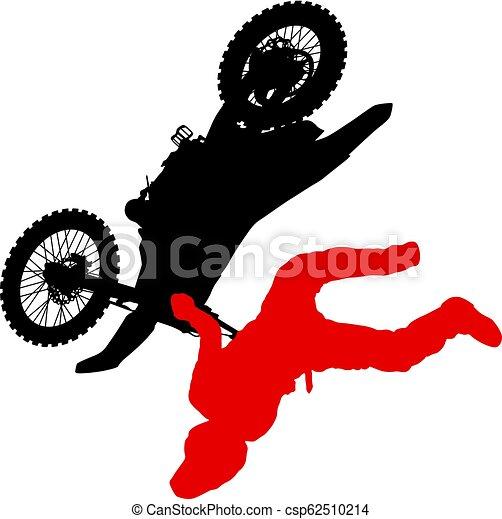 シルエット, 実行, トリック, オートバイ, 背景, 白, ライダー - csp62510214