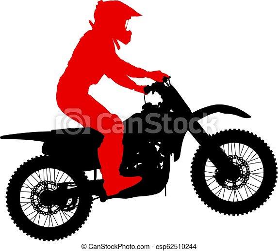 シルエット, 実行, トリック, オートバイ, 背景, 白, ライダー - csp62510244