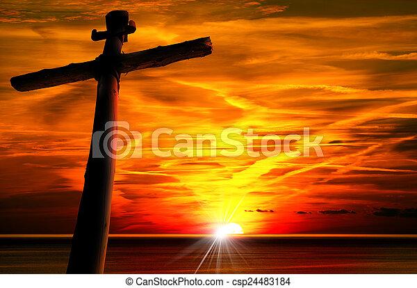 シルエット, 日没, 交差点 - csp24483184