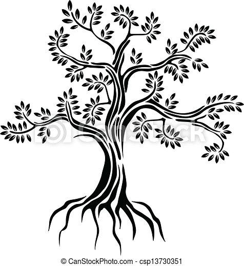シルエット, 木, 隔離された, 黒 - csp13730351