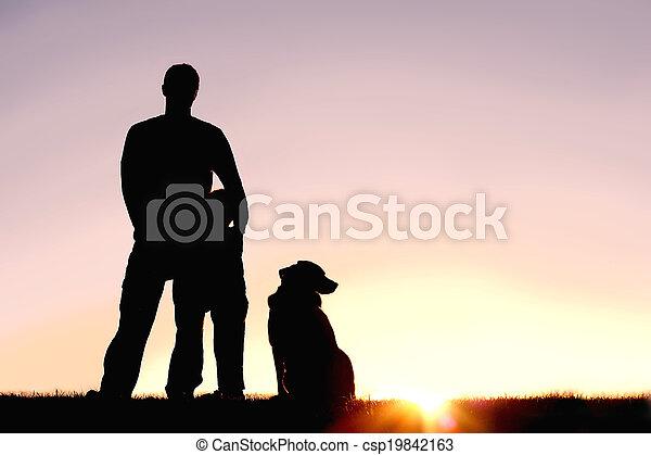 シルエット, 犬, 日没, 父, 前部, 息子 - csp19842163
