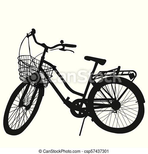シルエット, 白, 自転車, 背景 - csp57437301