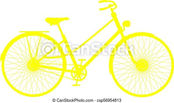 シルエット, 自転車, レトロ, 黄色 - csp56954813