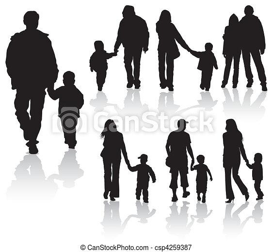 シルエット, 親, 子供 - csp4259387