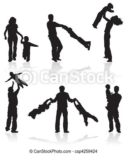 シルエット, 親, 子供 - csp4259424