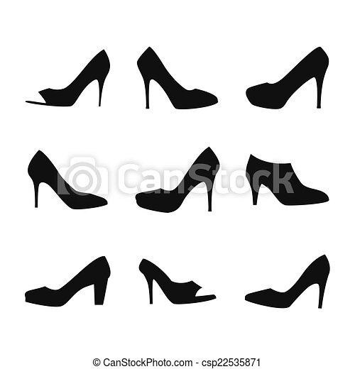 シルエット 靴 靴 Silhouettes 隔離された イラスト バック