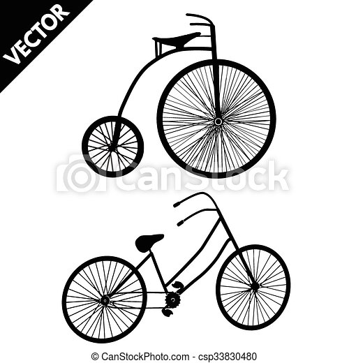 シルエット, bicycles, 古い - csp33830480